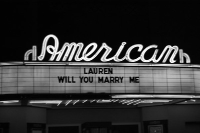 The marquee on the theater ... this theater was in a scene in The Notebook ... he is amazing